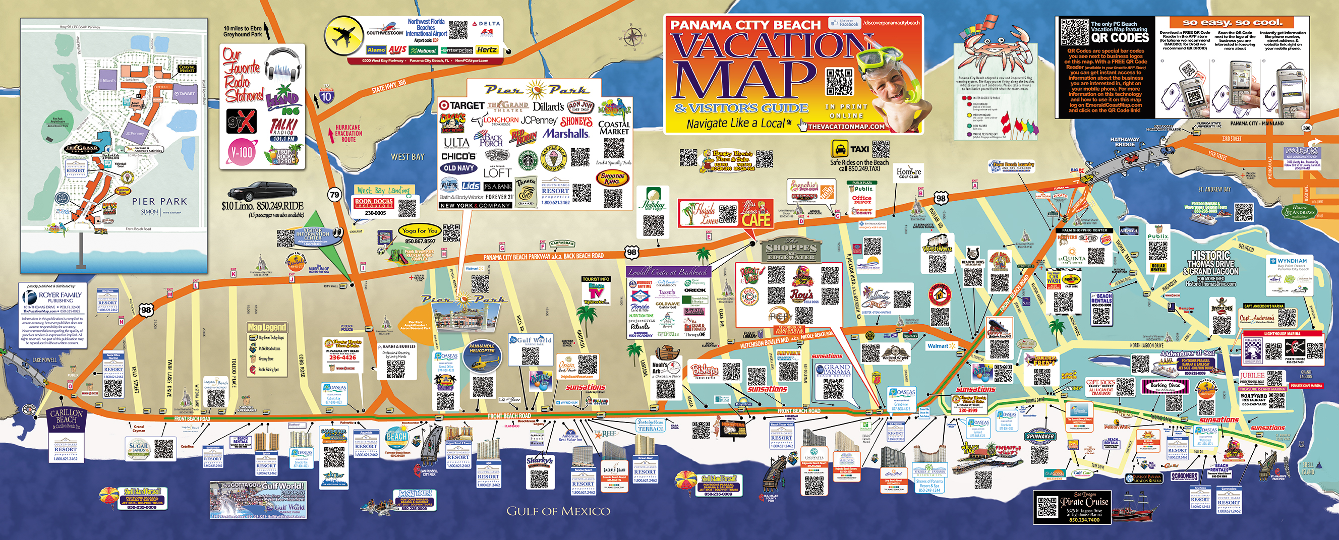 Panama City Beach Map Of Attractions Ping Restaurants Pcb Pcbcondoa921 Activities